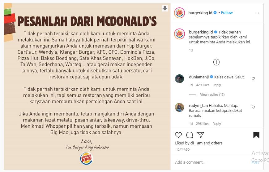 Burger King Minta Pelanggan Pesan ke Fast Food Lainnya